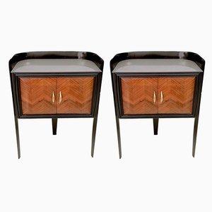 Tables de Chevet en Noyer et Verre Gravé par Paolo Buffa, Italie, 1950s, Set de 2