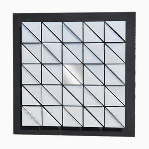 Panel cinético plateado de plexiglás con espejos centrales de Giorgio Garbari, años 70