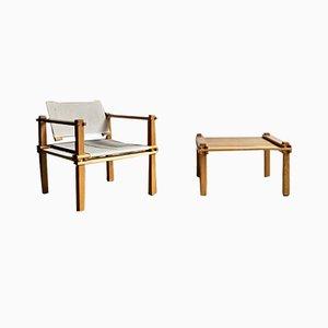 Conjunto de mesa de centro y butaca Safari vintage de Gerd Lange para Bofinger