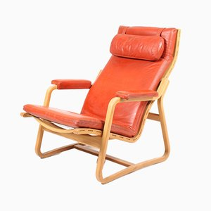 Vintage Leather & Elm Lounge Chair by Ditte & Adrian Heath for France & Søn, 1960s