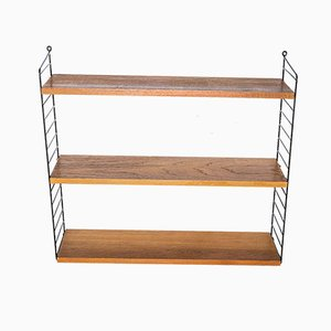 Iron & Teak Wall Shelf by Kajsa & Nils 'Nisse' Strinning for String, 1960s
