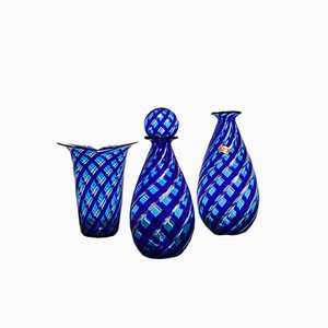 Murano Glass Reticello Vases, 1980s, Set of 3