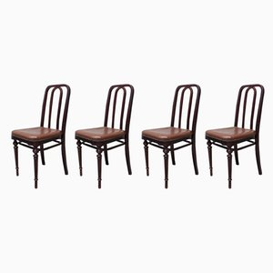Antique Wooden Dining Chairs, 1910s, Set of 4