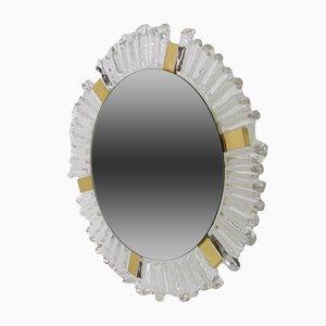 Beleuchteter Spiegel aus Kristallglas & Messing in Sonnen-Optik von Egon Hillebrand für Hillebrand Lighting, 1970er