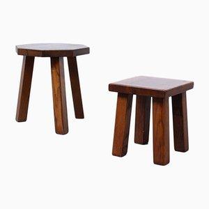 Tavolini in legno di quercia massiccio di Charlotte Perriand, anni '60, set di 2