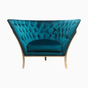 Velvet Buttoned Lounge Chair by Michele Mantovani