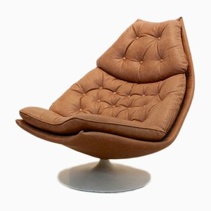Cognac Leather F588 Swivel Lounge Chair by Geoffrey Harcourt for Artifort, 1960s
