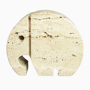 Sujetalibros moderno italiano en forma de elefante de mármol de travertino de Fratelli Mannelli, años 70