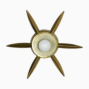Italian Brass Theatre Wall or Ceiling Lamp, 1950s