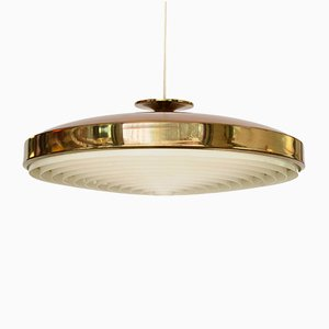Swedish Brass Pendant Lamp with Plastic Diffuser, 1960s