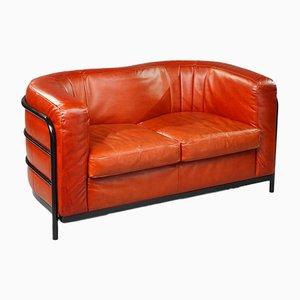 Onda Sofa aus Leder & schwarzem Metall von De Pas, D'Urbino und Lomazzi für Zanotta, 1980er
