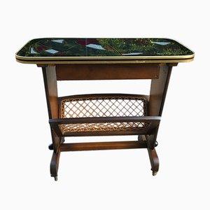 Tavolino vintage con portariviste, anni '50