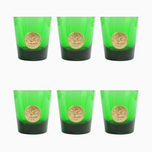 Mid-Century Italian Green Glasses from Byrrh, Set of 6