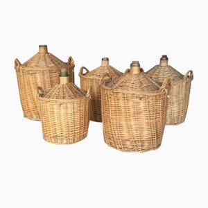 Vintage French Wicker Dame Jeanne Bottles, Set of 5