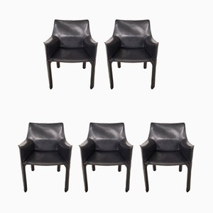 Italian Model CAB-413 Leather Dining Chairs by Mario Bellini for Cassina, 1980s, Set of 5