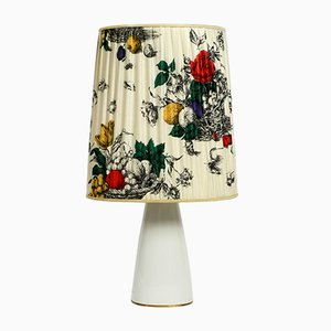 Large Porcelain & Silk Floral Table Lamp from KPM Berlin, 1960s