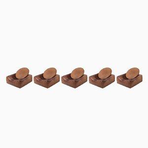 Ledersessel mit verstellbarem halbrunden Kissen, 5er Set