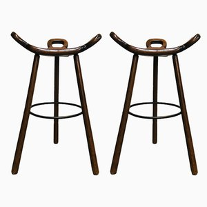 Spanish Bentwood Oak Stools, 1970s, Set of 2