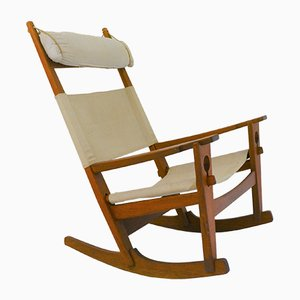 Vintage GE-673 Keyhole Rocking Chair by Hans J. Wegner for Getama, 1970s