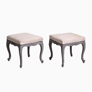 19th-Century Swedish Carved Stools, Set of 2