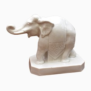Vintage Art Deco Porcelain Elephant Night Light from Sèvres
