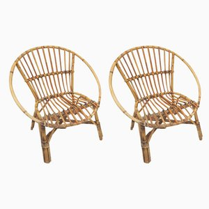 Rattan Childrens Chairs, 1970s, Set of 2
