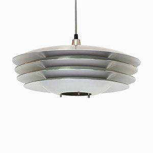 Danish Brushed Aluminum Layered Pendant Lamp, 1970s