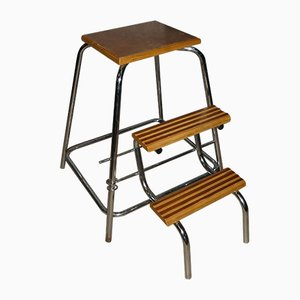 Vintage Wood & Chrome Step Ladder