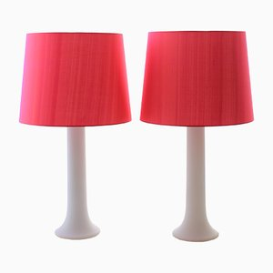 Scandinavian Modern Opaline Glass Table Lamps by Uno & Östen Kristiansson for Luxus, 1960s, Set of 2