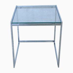 Mesa auxiliar vintage de metal cromado y vidrio, años 70