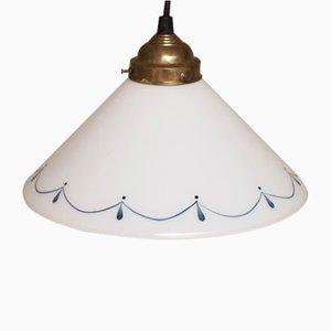 Lámpara colgante danesa vintage blanca