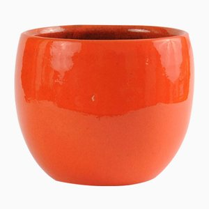 German Orange Ceramic Flower Pot, 1970s