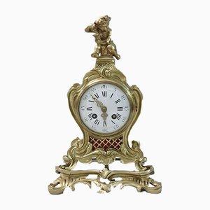 Reloj de repisa francés estilo rococó de latón y dorado de Samuel Marti, década de 1890