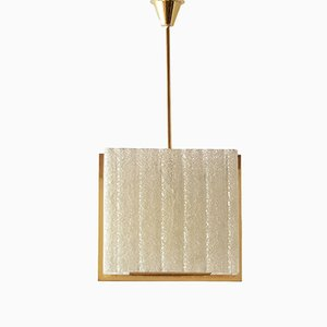 Mid-Century French Resin & Brass Ceiling Lamp from Arlus, 1950s