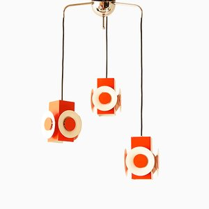 Vintage Orange and White-Lacquered Steel Waterfall Chandelier from Raak, 1970s