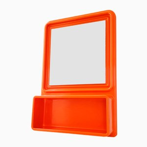 Space Age Orange Molded Plastic Mirror with Shelf, 1970s