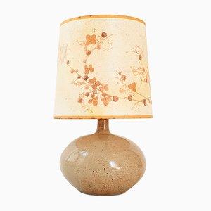 Lámpara de mesa francesa vintage de arenisca con pantalla estampada con hierbas, años 70