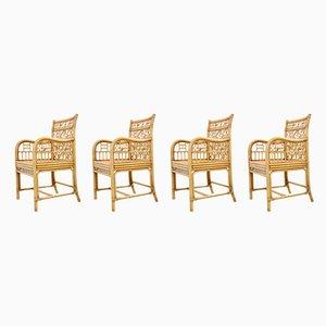 Esszimmerstühle aus Rattan, 1970er, 4er Set
