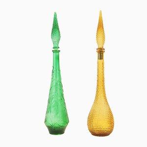Decantadores Empoli italianos de vidrio, años 60. Juego de 2