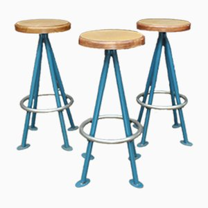 Metal and Wood Stools, 1960s, Set of 3