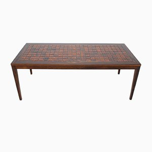 Danish Rosewood & Ceramic Tile Coffee Table, 1960s
