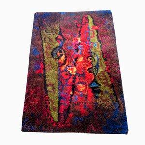 Vintage Wollteppich mit abstraktem Muster von Wasa, 1970er