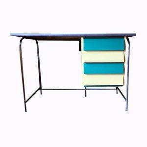 Italienischer Schreibtisch aus Stahlrohr & Resopal, 1950er