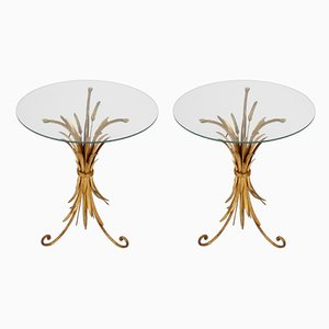 Gild Metal Wheat Sheaf Side Tables, 1960s, Set of 2