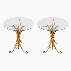 Tavolini in metallo dorato a fascio di grano, anni '60, set di 2