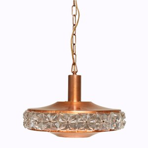 Copper Ceiling Lamp with Glass Elements, 1960s