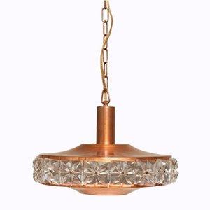 Deckenlampe aus Kupfer mit Glaselementen, 1960er