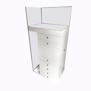 White Lacquered Chest of Drawers with Mirror and Light by Claudio Salocchi for Luigi Sormani, 1960s