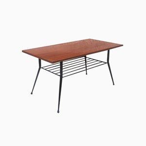 Tavolino da caffè rettangolare in legno e metallo, anni '50