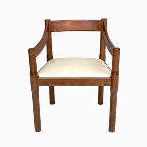 Carimate Stuhl mit Gestell aus Nussholz & elfenbeinfarbenem Sitz aus Skai von Vico Magistretti für Cassina, 1960er